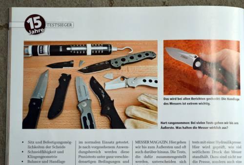 Bericht im Messer Magazin: Die Redaktion testet zum Beispiel, wie viel ein Messer aushält.